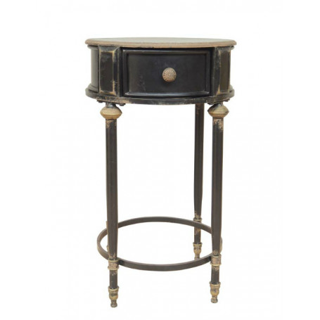 Black side table Edouard with drawer Chehoma