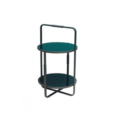 Black glass side table 2 levels Chehoma