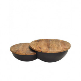 Round coffee table with storage inside Chehoma