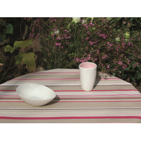 Coated fabric stripes taupe pink
