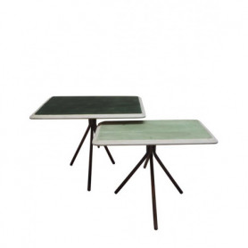 Chehoma green lacquered wood tables Rêverie