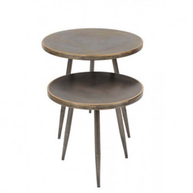 Set de 2 tables métal brossé Chehoma