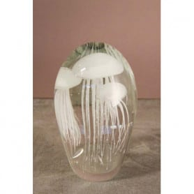 Glass paperweight with 3 white jellyfishes Chehoma
