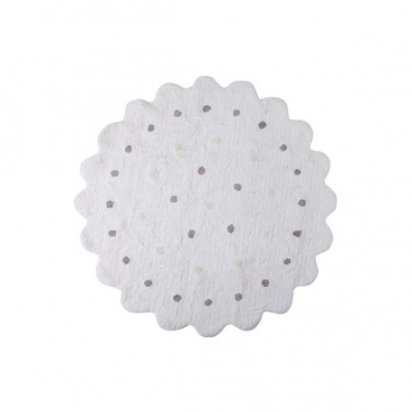 Tapis rond biscuit blanc Lorena Canals