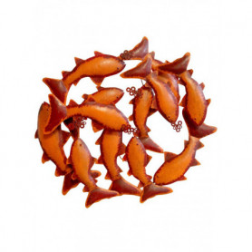 Orange wall pannel with fishes. Chehoma
