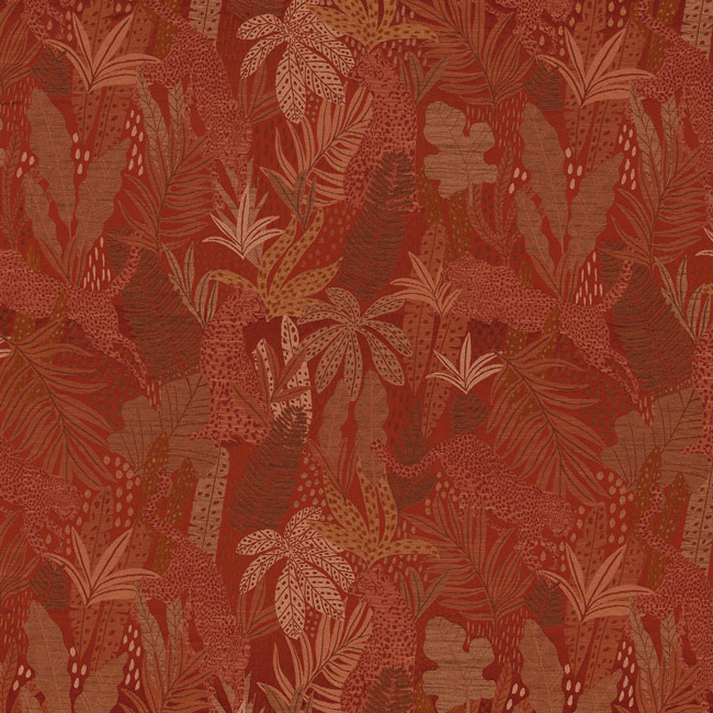 tissu casamance Panthere orange brulé